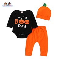 Toddler Infant Baby Boys Halloween Clothes Set My 1st Boo Day and Pumpkin Print Long Sleeve Romper Top Pant Hat 3PCS Outfit