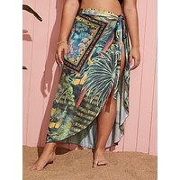 Plus Tropical Tie Waist Cover Up