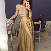 Long Sleeve Gold Satin Prom Dresses,Prom Dress