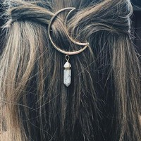 Crystal Drop Moon Hair Pin