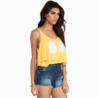 Yellow Floral Strap Layer Tank