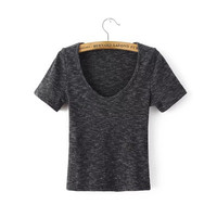 2016 Trending Fashion Summer Knit Women Slim Fit Round Necked Short Sleeve Sexy Erotic  Top T-Shirt Top T-Shirt Top _ 9795