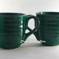 Large Light Emerald Green Mug Set (2)