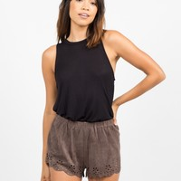 Suede Scalloped Shorts