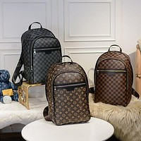 LV Louis Vuitton Women Fashion Daypack School Bag Leather Backpack-5
