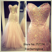 Sparkly Prom Dress Colorful Long Rhinestone vestidos de festa Crystal Beads Pink Tulle Mermaid Long Party Dress Evening Gowns