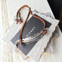 Silver Feather and Leather Bracelet