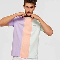Fashion Casual Men Slogan Patched Colorblock Tee