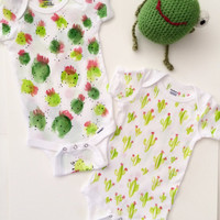 Cactus Baby Onesuit baby clothes Saguaro Prickly Pear Barrel Green Cactus Cotton