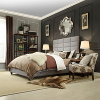 Queen size Grey Upholstered Bed with High Profile Headboard