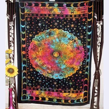 Twelve constellations wall blanket tapestry polyester Gypsy Divination wall hanging mandala tapices