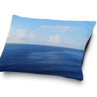 Caribbean Sea - Pet Bed, Blue Ocean Coastal Surf Style Pet Bedding Accent, Cat & Dog Pet Pillow Bed Coral Fleece Throw in Small Medium Large