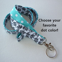 Lanyard  ID Badge Holder - Lobster clasp and key ring - design your own gray elephants white polka dots aqua two toned double sided