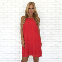 Rosas Embroider Halter Dress in Red