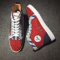 Christian Louboutin CL Louis Spikes Style #1901 Sneakers Fashion Shoes Best Deal Online