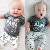 Newborn Baby Boy Girl Clothes Tops Mama Letter Print Cotton T-shirt+Arrow Geometric Pants Leggings 2pcs Outfits Baby Set 0-24M