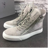 Guiseppe Zanotti Gray Frankie Leather High-Top Sneakers