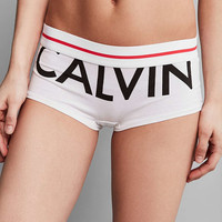 Calvin Klein Modern Cotton Exposed Logo White Boyshort Knickers - Urban Outfitters
