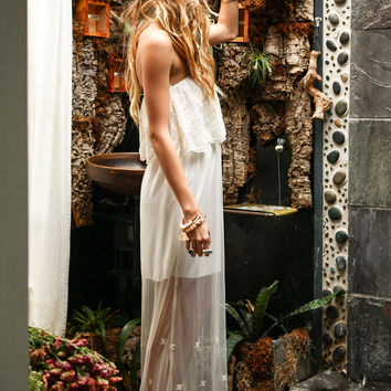 EMBROIDERED FLORAL MESH MAXI DRESS