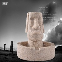 BUF Easter Home Decoration Statue Sculpture Abstract Male Head Sculpture Handmade Resin Craft Art Collection Ashtray