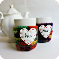 His His coffee mug tea cup cozy commitment by KnotworkShop on Etsy