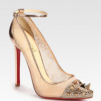 Picks & Co Crystal Stud-Embellished Lace and Metallic Leather Pumps