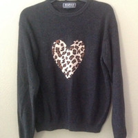 Extra Soft black leopard heart patch sweater