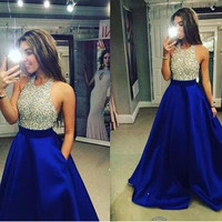 New Halter Beaded Long Prom Dresses A Line Backless Party Dresses Gold Silver Sequins Black Royal Blue Satin Evening Gowns 2016