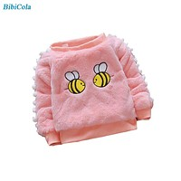 Baby Girls Sweaters Winter Children Girls Cartoon Bee Warm Sweaters Kids Girls Fleece Velvet Pullovers Girls Clothing