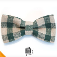 "Pet Bow Tie - ""The Scout"" - Hunter Green & Ivory Plaid Detachable Bowtie for Cats + Dogs"