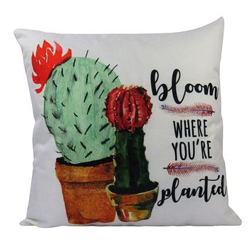 Bloom Where You're Planted | Pillow Cover | Good Vibes Only | Cactus Pillow | Famous Quotes | Motivational Quotes | Bedroom Decor