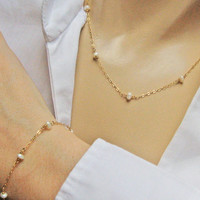 Wedding Jewelry Set, White Freshwater Pearl Set, 14k Gold Fill or Sterling Silver, Bride's Set, Pearl Necklace Bracelet, June's Birthstone