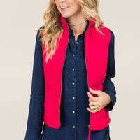 Amabella Quilted Side Zip Puffer Vest