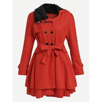 Contrast Faux Fur Collar Double Layered Hem Coat Red