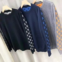 LV Louis Vuitton New fashion back and sleeve monogram print high quality couple long sleeve top sweater