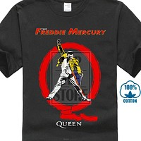 QUEEN Men's The Freddie Mercury Big Q Vintage Retro T Shirt Punk Rock Band