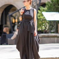 Long black dress, Linen dress women, Designer dress, Sexy dress, Dresses for women, Maxi dress, Summer dress, Sleeveless dress D25318