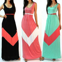 NEW Sexy Wave stripes Black Red Green Full Long Evening Dress Tank Bodycon Sundress Clubwear Maxi Boho Dresses S-XXL