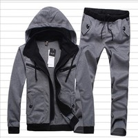 Fall spring winter  men Hoodies Outerwear +pants fashion casual sportswear men suit jacket mens tracksuits sport suits