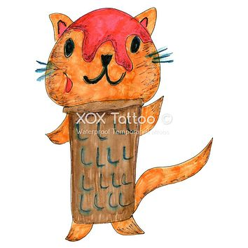 Ice Cream Cone Kitty Waterproof Temporary Tattoos Lasts 3 to 4 days Choose Small, Medium or Large Sizes