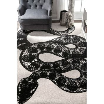 nuLOOM Black and White Made by Thomas Paul Slithering Serpent Area Rug | Overstock.com Shopping - The Best Deals on Area Rugs