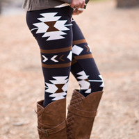 Tribal Print Leggings (Brown)