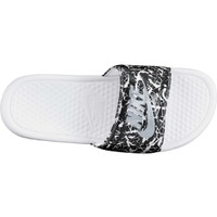 Nike Women's Benassi Just Do It Print Slides - Black/White/Silver | DICK'S Sporting Goods