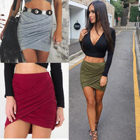 2018 American Apparel Street Fashion Women Lady High Waist Short Skirt Bandage Bodycon Cross Fold  Pencil Skirts 5 Colors