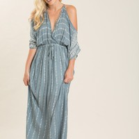 Selena Teal Printed Maxi Dress
