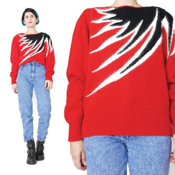 1980s FIRE Red Sweater Abstract Striped Sweater Avant Garde 80s Angora Sweater Womens Slouchy Jumper Vintage Winter Knit Pullover Black (S)