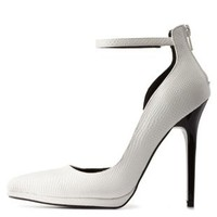 White Snake-Textured Ankle Strap D'Orsay Heels by Charlotte Russe