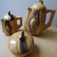 Vintage French Hand Made Ceramic Coffee Pot, Creamer and Sugar Bowl All with Lids, Wood Design GrandJean Vallauris France