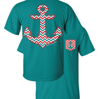 Southern Couture Chevron Anchor Faux Pocket Jade Girlie Bright T Shirt
