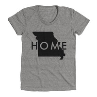 Missouri Home Womens Athletic Grey T Shirt - Graphic Tee - Clothing - Gift